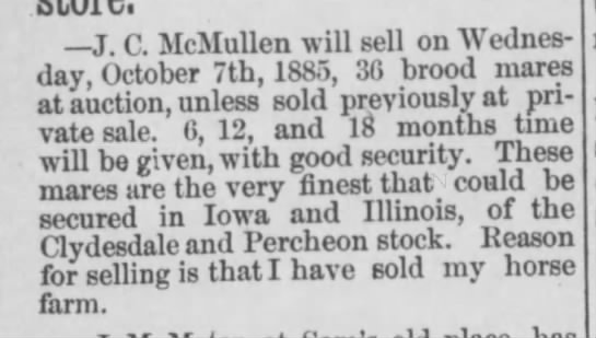 J.C. McMullen (sale of Clydesdale horses) -