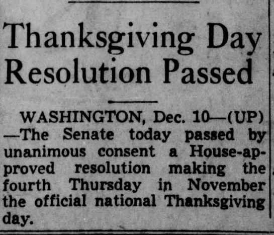 Congress approves resolution to officially set Thanksgiving on fourth Thursday -