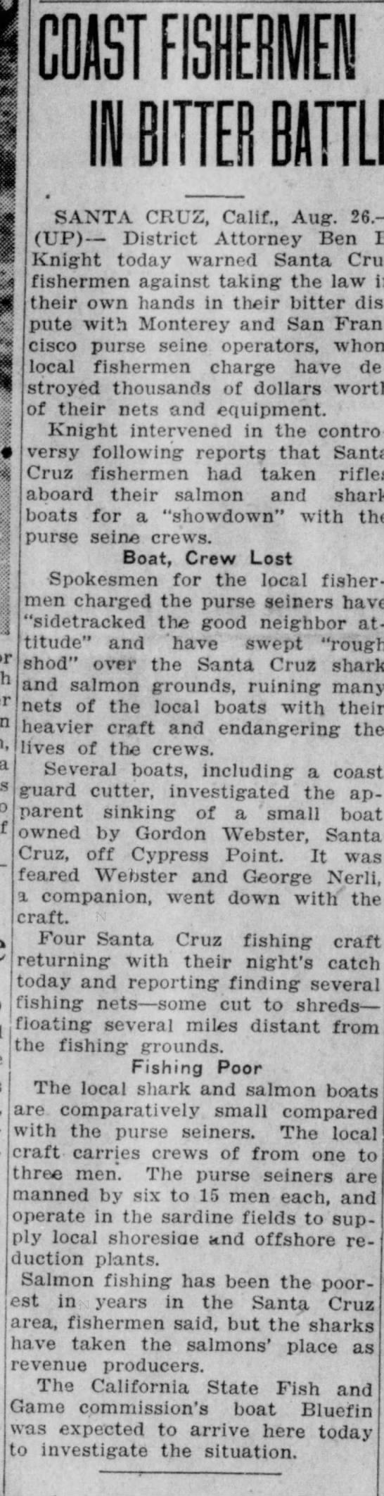 Webster, Gordon lost at sea - Article in Santa Ana Register 26 Aug 1938 -