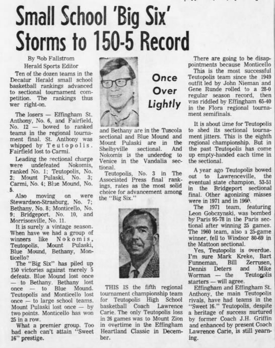 Decatur Herald 3-4-75 - Small School 'Big Six' Storms to 150-5 Record...