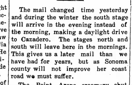 Mail change Cazadero 2 Dec 1910 -