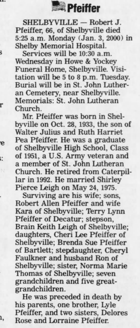 Robert Julius Pfieffer Oct 28 1933 - Jan 03 2000 -