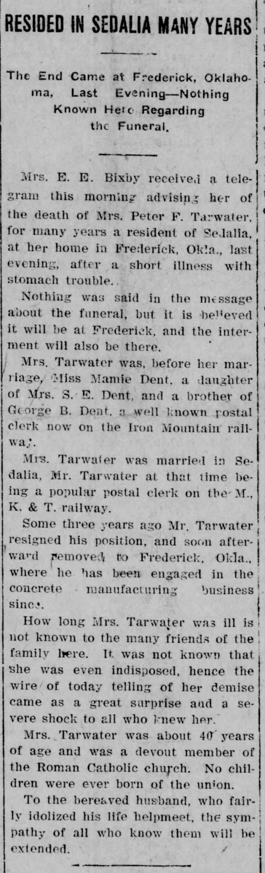 Details on Mamie Tarwater's death (wife of Peter)! The Sedalia Democrat 12/13/1907 -