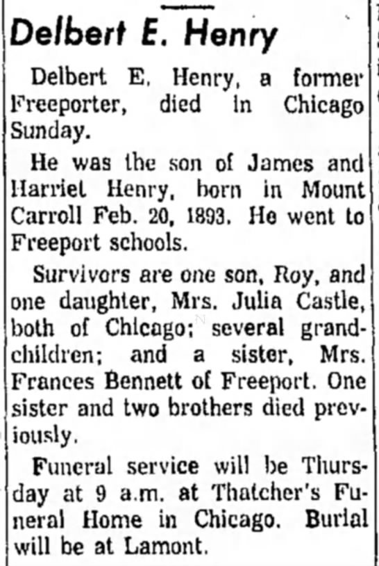 Obit of Delbert Ernest Henry, Freeport Journal-Standard, Freeport, Illinois, 23 May 1961, Page 2 -