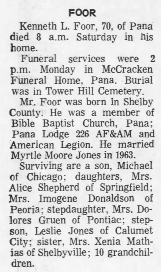 Kenneth L Foor Obit - FOOR Kenneth L. Foor, 70, of Pana died 8 a.m....