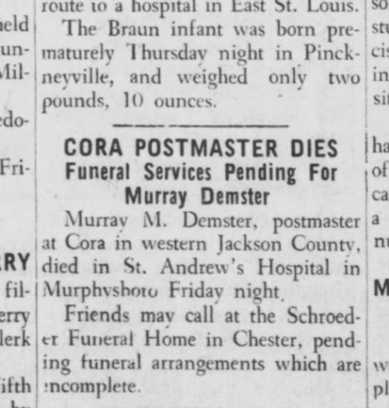 Murray Demster dies Jan 24, 1954 -
