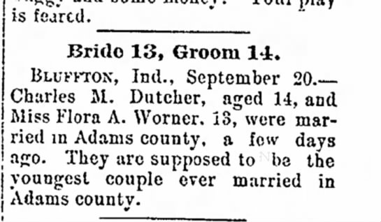 Marriage of Charles Dutcher and Flora Warner -
