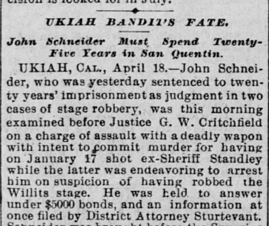 Ukiah Bandit's Fate - April 19 1896 -