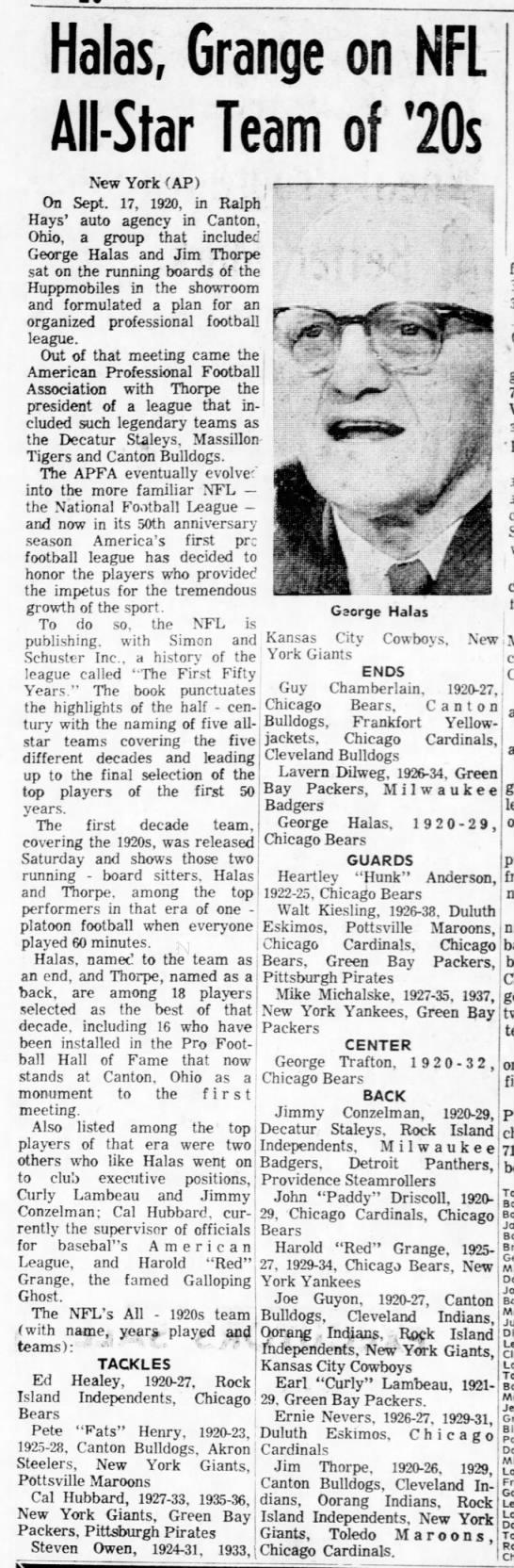 Halas, Grange on NFL All-Star Team of '20s -