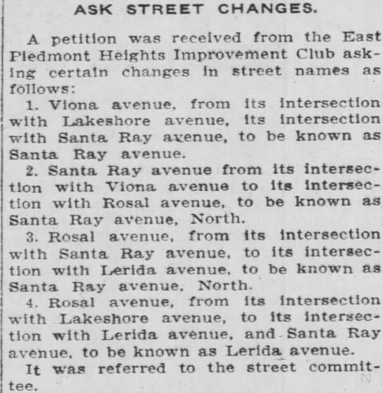 Santa Ray avenue - street name changes -