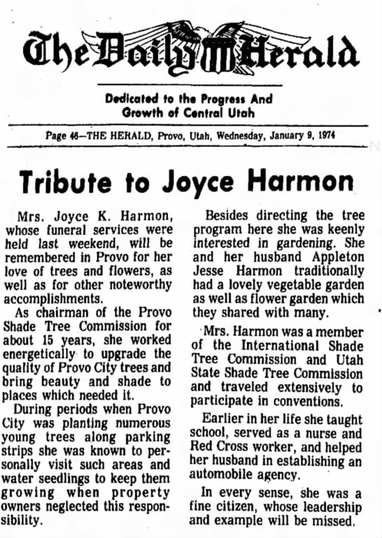 Joyce K. Harmon Tribute Jan. 9, 1974 -