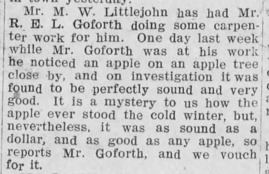 Social news: Apple survives the winter, 1908 - Mr. M. W. Littlejohn has had Mr.-; -morning R....