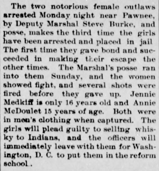Female outlaws resist arrest (Jennie Metcalf and Annie McDoulet) -