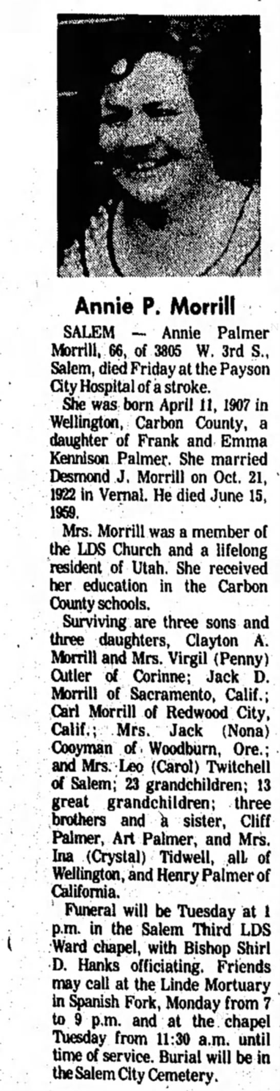 Annie Viola Palmer Morrill obituary - The Daily Herald (Provo, UT) - 20 Jan 1974, page 4 -