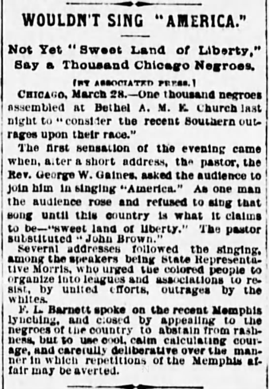 "Wouldn't Sing America,"" The Evening World (New York, New York) March 28, 1892, page 3 -"