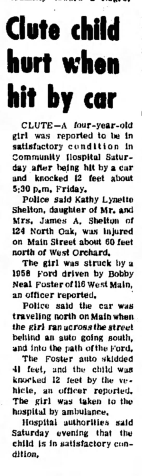 Kathy Shelton ran over by car, age 4 -