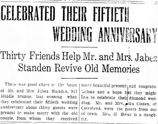 Standen, Jabez 50th anniv, 1906 911 Middle Ave - ,1 and IIIR FlfllETil Xc- Thirty Friends Help...