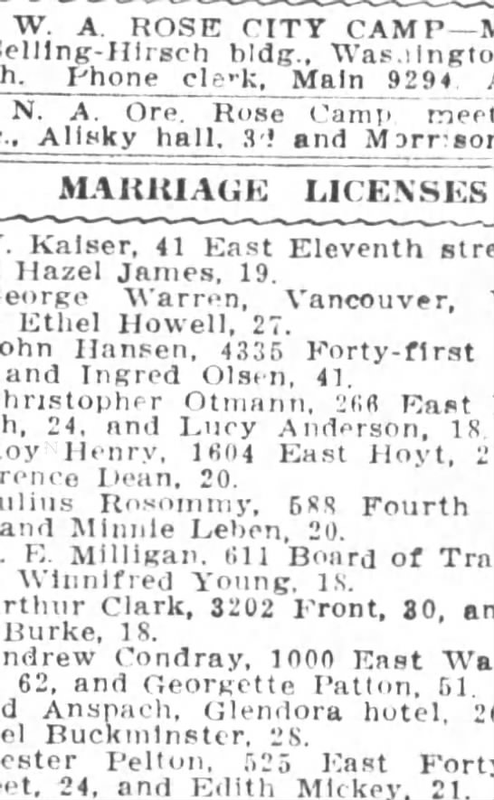 ottman marriage license oregon journal 30 dec 1911 - newspapers