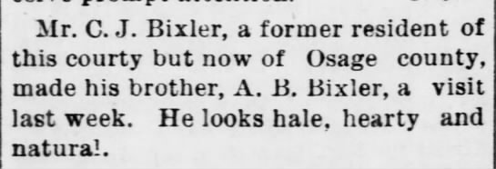 The Ottawa Herald 3 Jul 1890 places C J in Osage Co -
