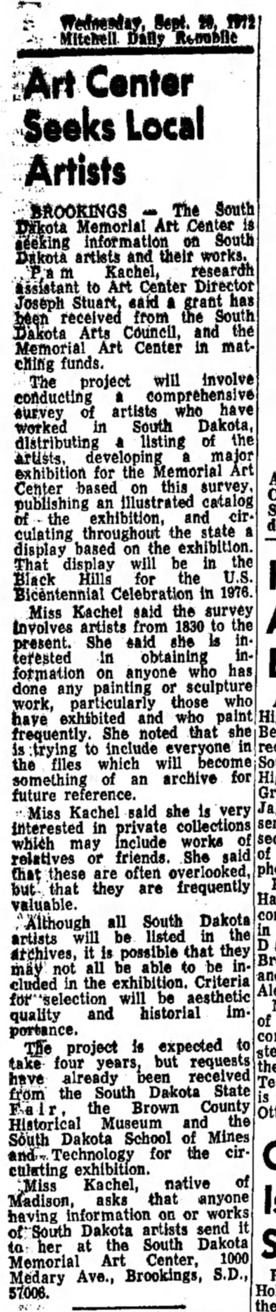 Art Center seeks local artists, The Daily Republic, 20 Spt 1972 -