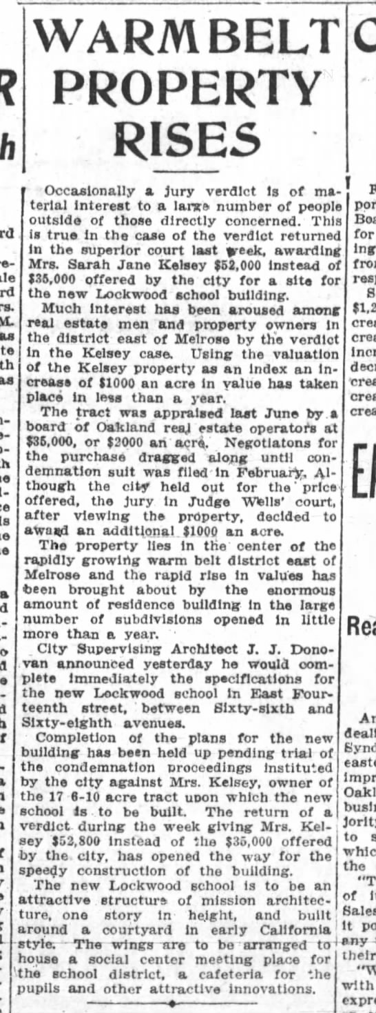 PROPERTY for new Lockwood Jr High - April 06,1913 -