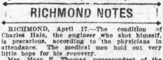 Hale, Charles; little hope for recovery 1913; Oakland Tribune -