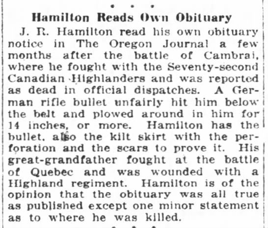 Man reads his own obituary in 1919! -