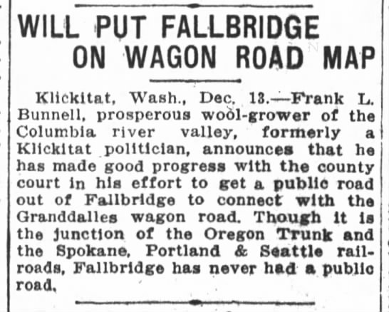 The Oregon Daily Journal Road from Fallbridge  December 13, 1913 -