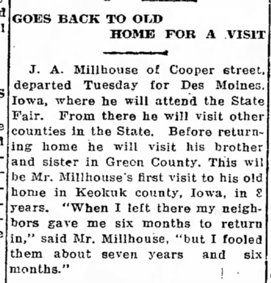 J A Millhouse from Missouri goes back home to Iowa for visit  1912 -