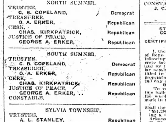 Election ballot 16 October 1920 Geo. A Erker - NORTH SU.MNER, TRUSTEE. C. B. COPELAND,...