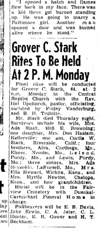Grover C Stark obit 22 Apr 1951, Pampa, Texas -