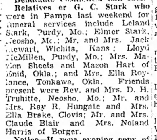 Relatives and friends in town for Grover Cleveland Stark's funeral service April 1951. -