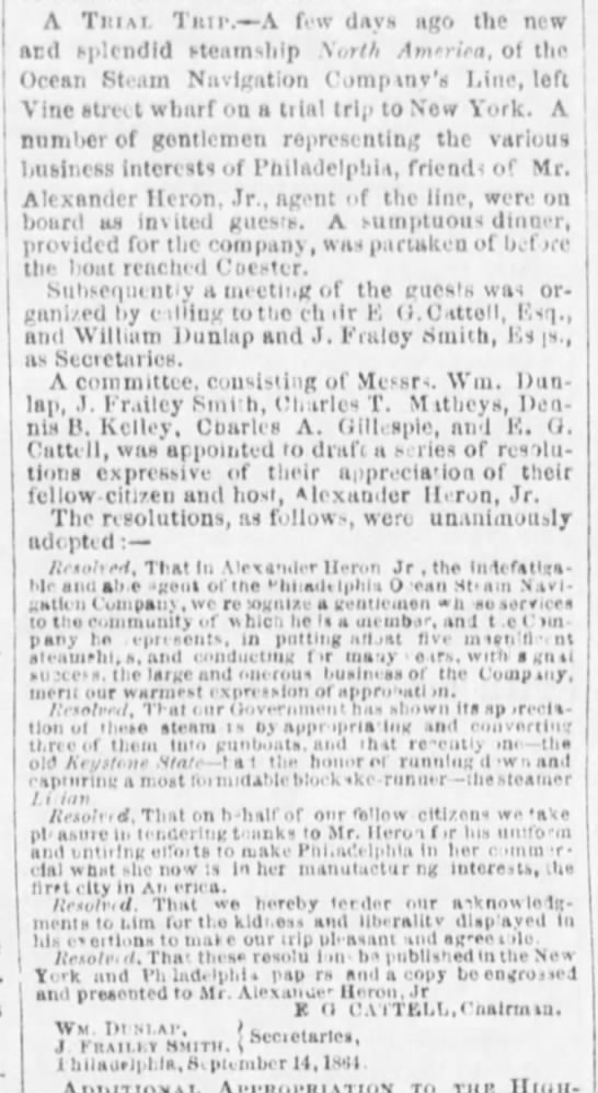 A Trial Trip, The Evening Telegraph (Philadelphia, Pennsylvania) September 16, 1864, page 2 -