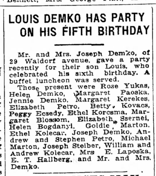 Lou Demko - 6th Birthday Party (page 20, column 2) -
