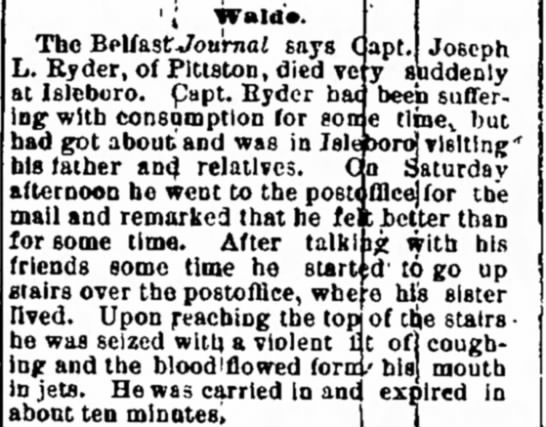 1882. Death of Capt. Joseph L. Ryder of Pittston. -