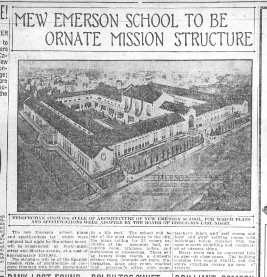 New Emerson School to Be Ornate Mission Structure -