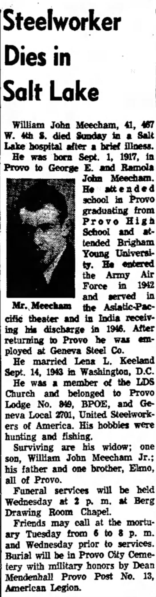 Willaim John Mecham Obituary  from The Daily Herald, pg 4 on 22 Dec 1958 -