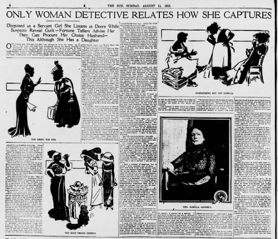 """""""Only Woman Detective Relates How She Captures"""" 1912 (Isabella Goodwin) -"""