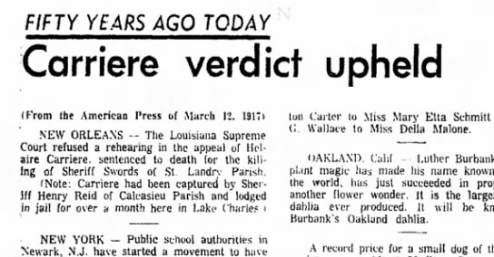Carriere Verdict upheld (Helaire Carriere) 11 Mar 1957 -