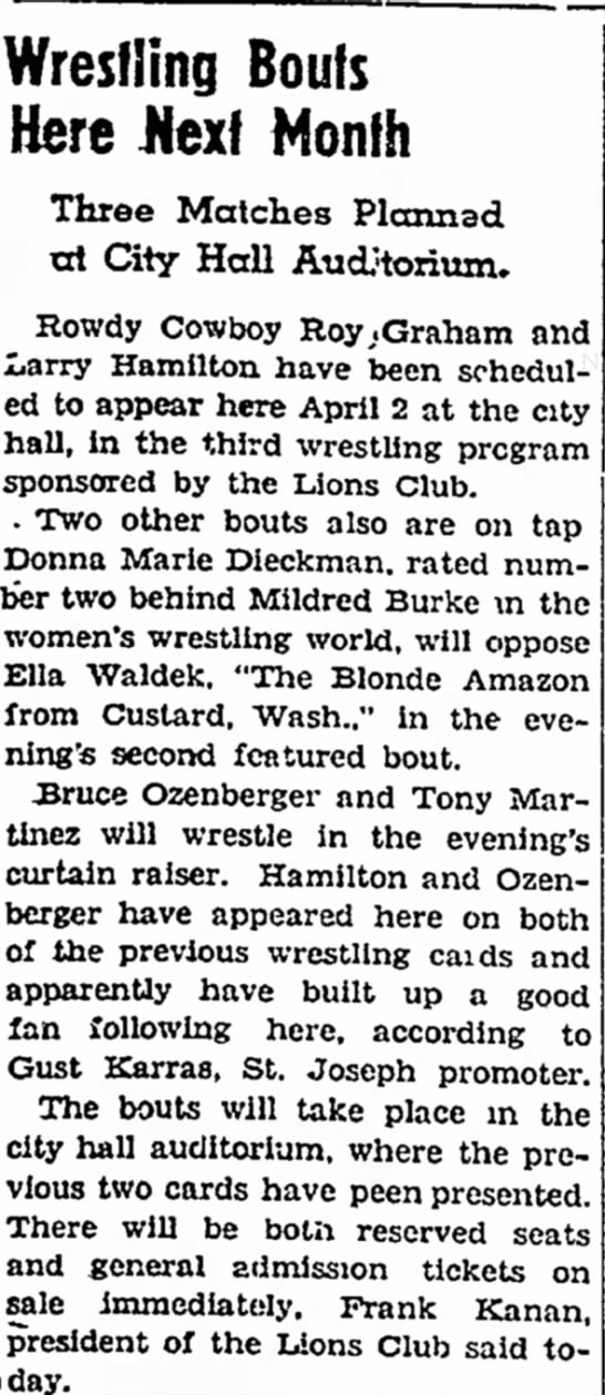 Ozenberger, Bruce - Wrestling Bouts Here Nexf Month Three Matches...