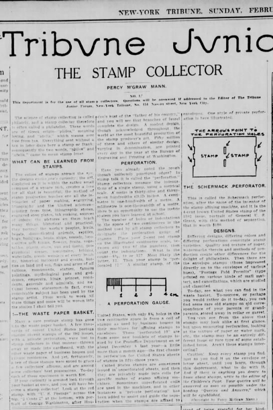 Schermack Stamp Article 1Feb1914 New York Tribune NY -