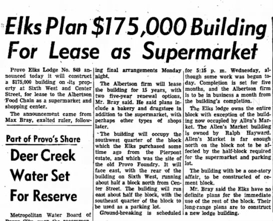 Max Bray 1959 - Elks Plan $775,000 Building For Lease as...
