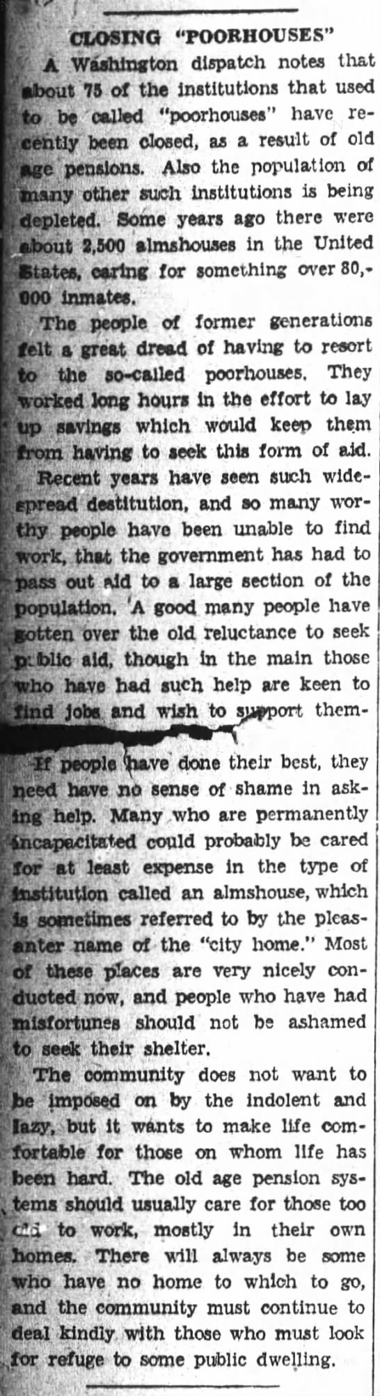 Article about why many poorhouses are closing, 1938 -