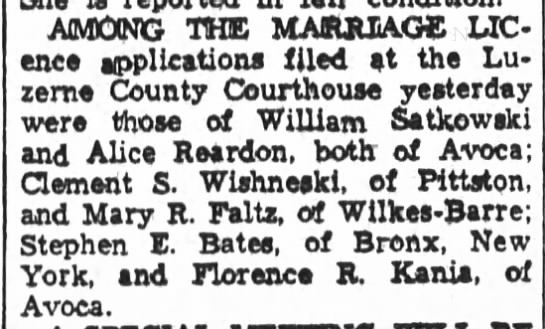Satkowski-Reardon among marriage license applicants August 1955 -