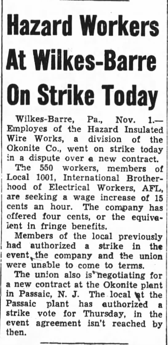 Hazard Workers at Wilkes-Barre on Strike Today -