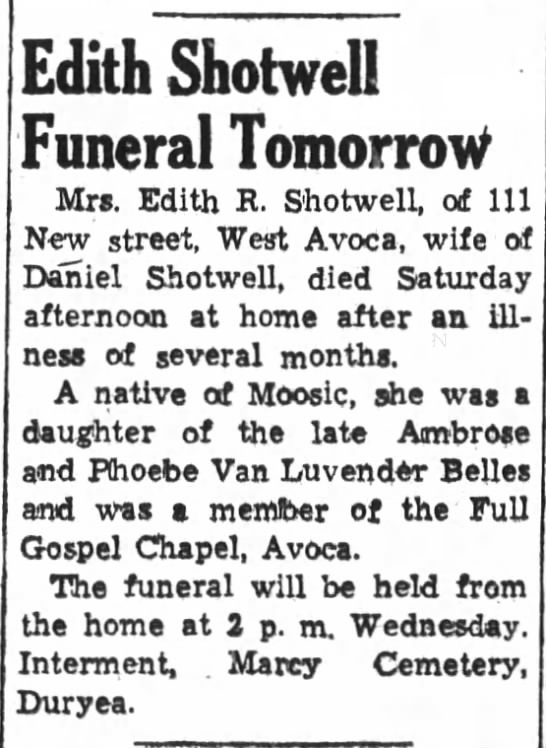 Edith Shotwell obituary, daughter of Ambrose and Phoebe Belles -