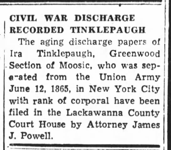 Civil War Discharge Papers Recorder Ira Tinklepaugh in Lackawanna County Court House 1956 -