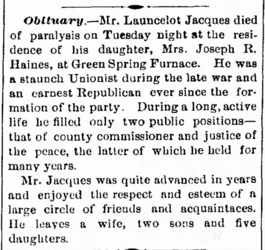 Lancelot Jacques obitThe Herald and Torch LightHagerstown, Maryland 22 Dec 1887 -