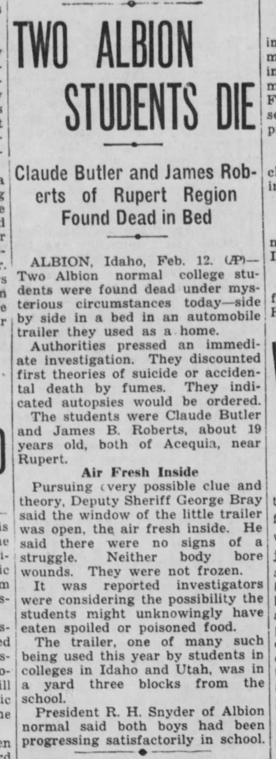 ID ID Falls - Post-Register 1937 02-12 Fri Pg 08 Claude Butler found dead -