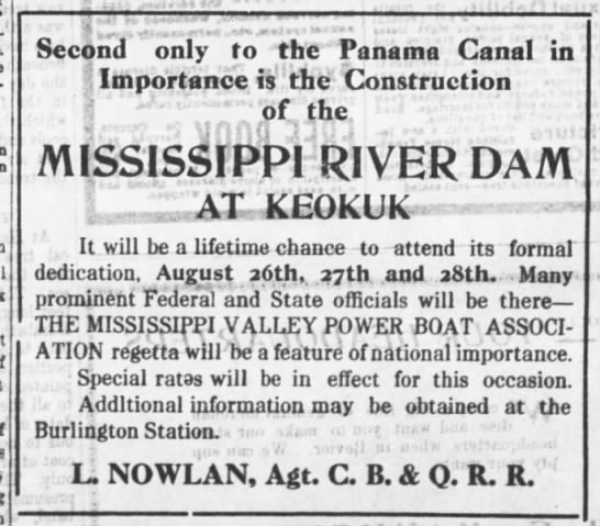 Ad for the dedication of the Mississippi River Dam in Keokuk